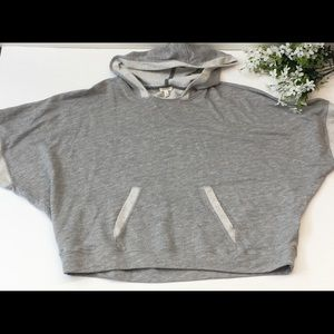 SOFT JOIE GRAY SHORT SLEEVE HOODED SWEATSHIRT XS